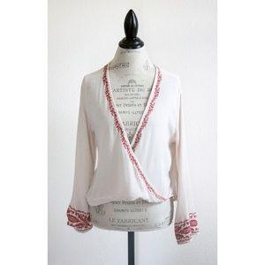 Ecote White Cara Embroidered Surplice Blouse